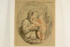 Kohle und Rötelzeichnung Oval Mutter mit Kind Antik Dekorativ Zeichnung um 1820