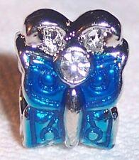 Blue Enamel Butterfly Rhinestone Bead fits Silver European Style Charm Bracelets