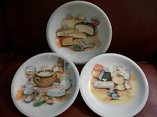Berry Haute 3 Porcelain Canape Wine Cheese Frommage Appetizer Cracker Plates