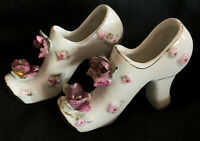 Vintage Victorian Pair of Porcelain Heeled Shoes White w/ Pink/Purple Roses