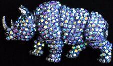 AB BLUE RHINESTONE ANIMAL AFRICA HORN TUSK RHINO RHINOCEROS PIN BROOCH JEWELRY