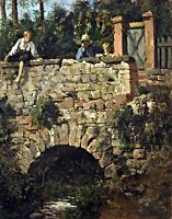 Children on a bridge by German  Franz Ruben. Canvas Life Art.  11x14 Print