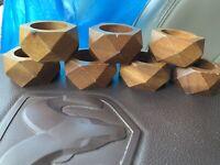 Set Of 7 Wood Geometric Napkin Holders, Rustic Look, Outdoor Dining