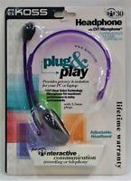 NEW Koss Headphone With CVT Microphone Purple i30 PLUG & PLAY