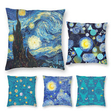 Van Gogh Starry Night Sky Art Velvet Throw Pillow Cover Sofa Cushion Case 16-22'