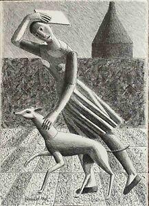 RODOLFO  MELI  litografia Fanciulla con levriero 35x25 firmata numerata Uffizzi