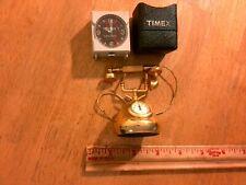 Mini Timex Travel Alarm Clock/Case & Brass Mini Telephone With Clock