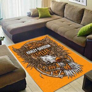 HOT Harley-Davidson Eagle Motorcycle Logo Area Rug Fan Carpet, Floor Carpet