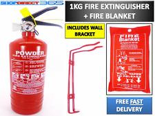 1KG POWDER ABC FIRE EXTINGUISHER + FIRE BLANKET HOUSE CAR OFFICE + WALL BRACKET
