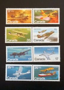 CANADA Sc#843-846 873-876 WAR PLANES Aviation  airplanes SET of 8  1979-1980 MNH