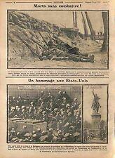 Gaz Feldgrauen Tranchée Bataille de la Marne/Statue de Washington Paris WWI 1915