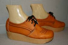 NOS 6.5 M Brown Leather Vtg 1960s 1970s Flat Platform Shoes Donna's Oxford Tie