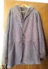 Unisex Italian made genuine Shearling XL suede coat (Pre- owned) dark grey