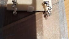 Beautiful Rhodium Plated CZ Hoop Earrings (Pierced) NEW WITH TAGS & GIFT POUCH