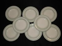 "Set of 8 STONEY HILL China SOFT COUNTRY Green Bands 8 3/4"" Salad Plates"