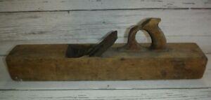 "Vintage 22"" Wooden Block Plane Primitive Wood Working Hand Tool"