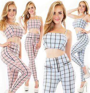 Damen Set Crop Top mit High Waist Hose 2-Teiler kariert blau rosa S M L ITALY