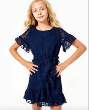 NWT Lilly Pulitzer Girls Mini Darlah Dress True Navy Botanical Shadow Size 4