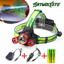30000LM CREE XML 3 x T6 Skywolfeye Rechargeable LED Headlamp+Charger + 18650 USA