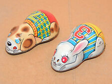 Puppy and Bunny Friction Toys Marked Japan (11653)