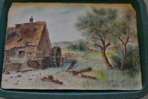 "Antique Landscape Water Color On Board  Alfr .J. Erikson 18"" x 12.5"""