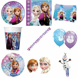 Disney Frozen Party Plates Napkins Cups Table Cover Banners Balloons Hats Pinata