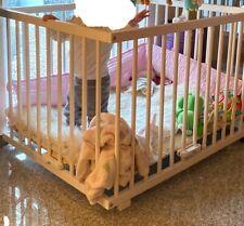 Laufstall Laufgitter FIONA weiß 100x75 cm Holz höhenverstellbar Nestchen rosa