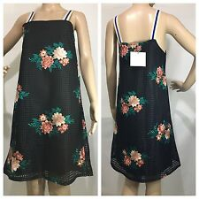 ZARA Black Floral Embroidered Mini Dress With Wide Straps Size Medium