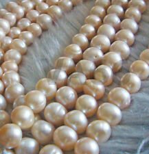 "DIY 15"" Fresh Water Pearls 11mm 12mm Peach Pearls Natural Bead Round Mutiara"