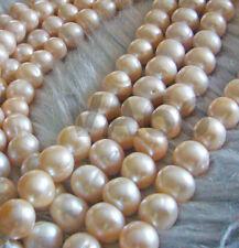 "DIY 15"" Fresh Water Pearls 11mm 12mm Peach Pearls Natural Bead Round Mutiara"