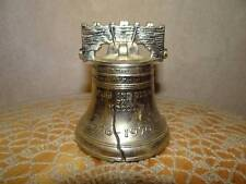 """Vintage Metal Liberty Bell Shaped Coin Bank """"Pass & Stow"""" Phila 1776-1976"""