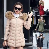 Women Winter Warm Fur Collar Hooded Long Coat Jacket Slim Parka Outwear Coats SZ