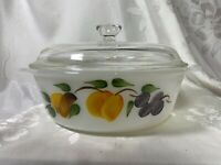Vintage Fire King Gay Fad Casserole Dish Peaches and Plums Oven Ware with Lid