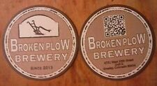 Set of two craft beer coasters. BROKEN PLOW BREWERY. GREELY, COLORADO.