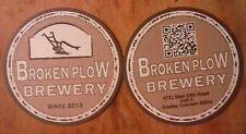 Set of two craft beer coasters. BROKEN PLOW BREWERY. GREELY, COLORADO.