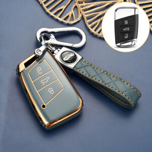 For VW Jetta A7 Smart Car Key Case Fob Cover Shell For Skoda Superb Kodiaq Grey