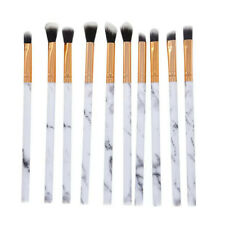 10x Gray Marble Make Up Brushes Eyeshadow Eyeliner Blending Eyebrow Brushes Set