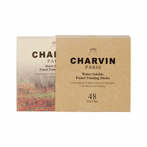 Charvin Artist Pastels Set for Professional, 48 Assorted Colors of Chalk Pastel