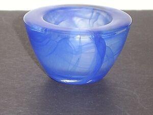 PartyLite Solitude Indulgences Blue Swirl Glass Votive Tealight Holder