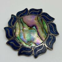 Vintage Sterling Silver 925 Taxco Abalone Crushed Lapis Brooch Pin Pendant