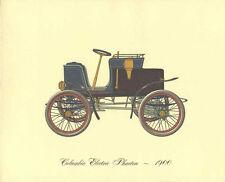 Antique Car 1900 Columbia Electric Phaeton Lithograph Color Automobile Print Old