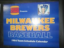Milwaukee Brewers 1984 Team Calendar Burger King ROBIN YOUNT PAUL MOLITOR