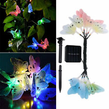 12 LED Solar Schmetterling Angetriebene Fiber Optic String Garten Lichter ttvv