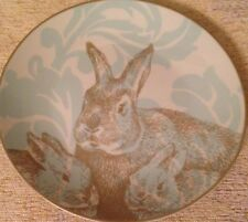 Blue White Damask Bunny Rabbits Mama and baby Easter Dessert Salad Plate 8 Avail