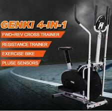 Genki 4-in-1 LCD Elliptical Cross Trainer & Exercise Bike Burns Calories Pulse