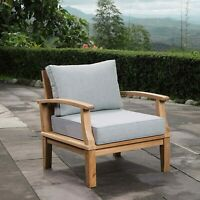 Marina Outdoor Patio Teak Armchair Natural Gray New