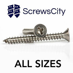 PHILLIPS COUNTERSUNK SELF TAPPING SCREWS A2 STAINLESS STEEL TAPPERS