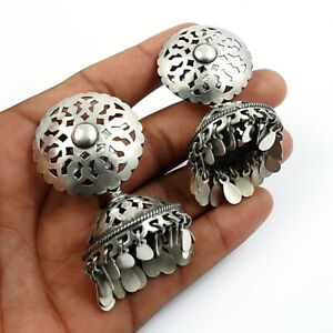 HANDMADE 925 Solid Sterling Silver Jewelry Oxidized Jhumka Earrings V91