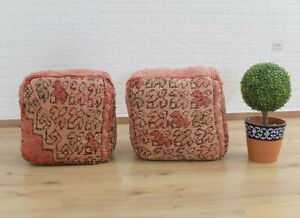 Set of 2 Poufs Moroccan handmade/Pouf House square, organic wool, free shipping