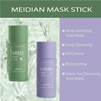 Green Tea Purify Clay Stick Face Oil Control Anti-Acne Eggplant Fine Solid - UK